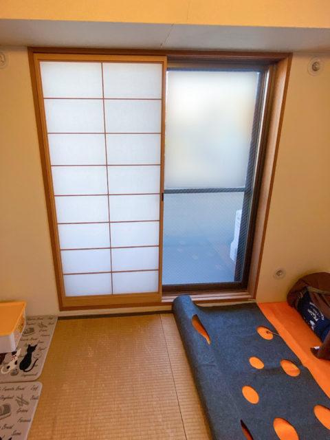 和室窓に併設された障子