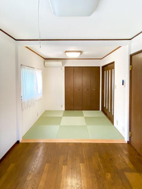 樹脂製琉球畳の新調とリビング間仕切り壁解体リフォームで広々リビング