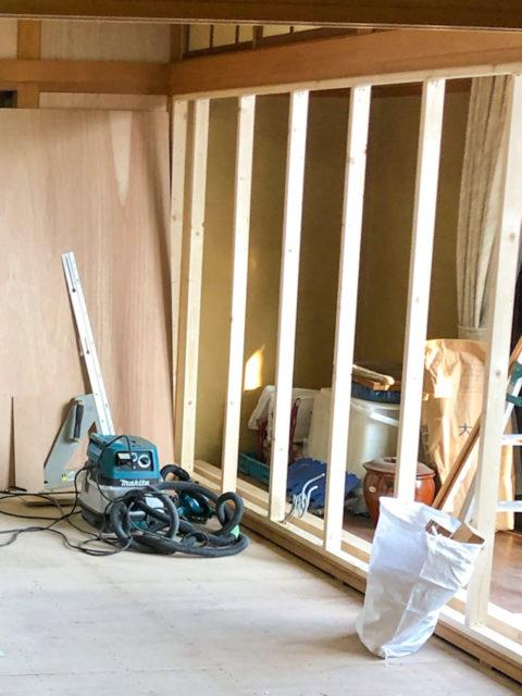 障子を撤去し新たな壁を設置するリフォーム