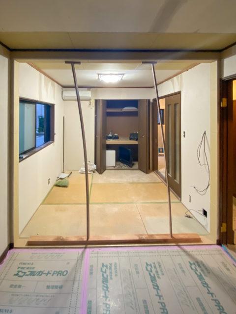 開口枠の固定・リビングの壁を撤去して、和室のある広々リビングダイニングキッチンへリフォーム