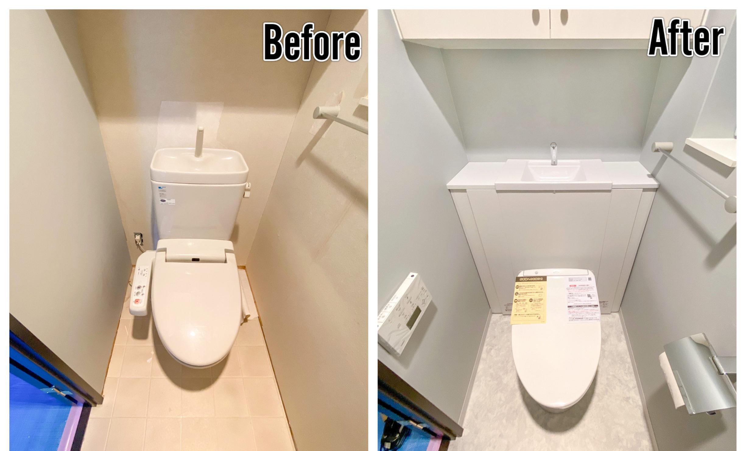 TOTOレストパル・トイレブラシも収納できる収納力のある手洗い器付きシステムトイレへリフォーム(before/after)